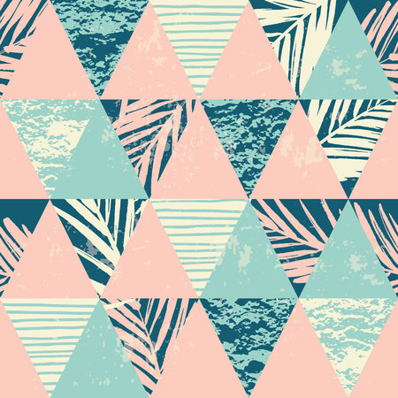 trend: Seamless exotic pattern with palm leaves on geometric background . Vector illustration. Illustration