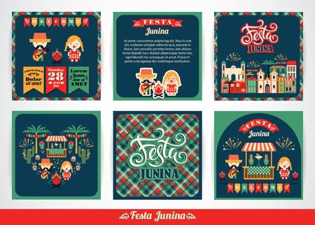 Latin American holiday, the June party of Brazil. Set of vector templates with symbolism of the holiday. Vectores