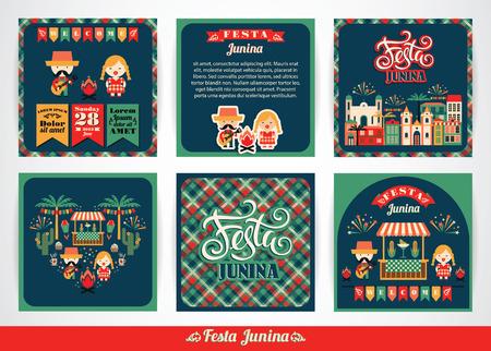 Vacances Amérique latine, le parti Juin du Brésil. Ensemble de modèles vectoriels avec le symbolisme de la fête. Banque d'images - 67684122