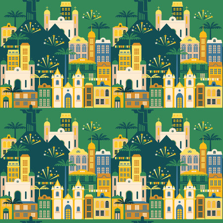 hick: Latin American holiday, the June party of Brazil. Flat seamless pattern.