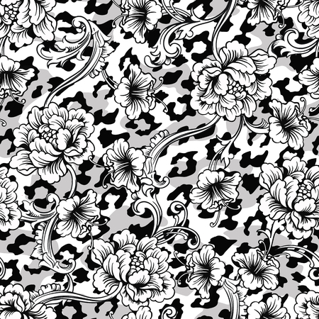 multilayer: Eclectic fabric seamless pattern. Animal background with baroque ornament. Vector illustration