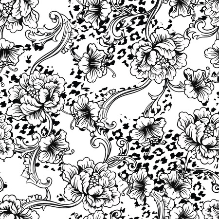 monochrome: Eclectic fabric seamless pattern. Animal background with baroque ornament. Vector illustration