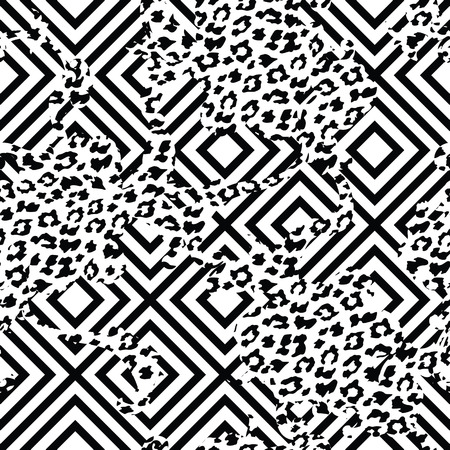 Eclectic fabric seamless pattern. Geometric background with animal pattern. Vector illustration Vettoriali