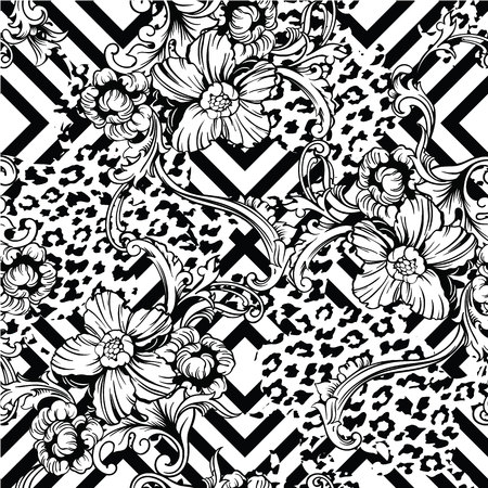 leopard print: Eclectic fabric seamless pattern. Animal and geometric background with baroque ornament. Vector illustration
