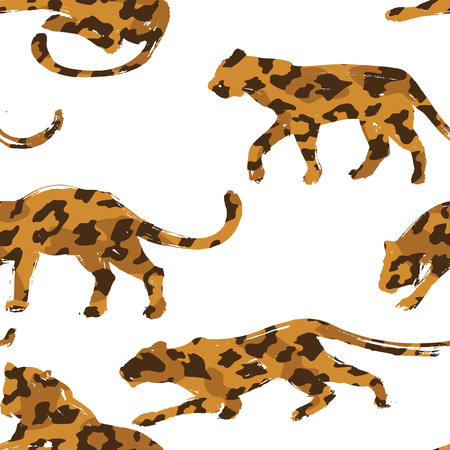 Seamless exotic pattern with abstract silhouettes of animals. Vector hand draw illustration.
