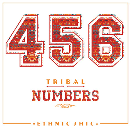 Tribal ethnic numbers for t-shirts, posters, card and other uses. Trendy style.