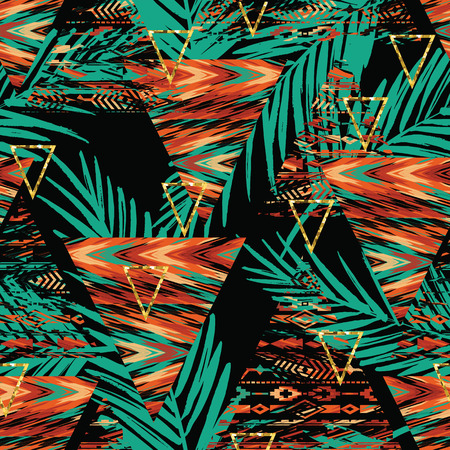 Tribal ethnic seamless pattern with geometric elements and palm leaves. Vector background Illustration