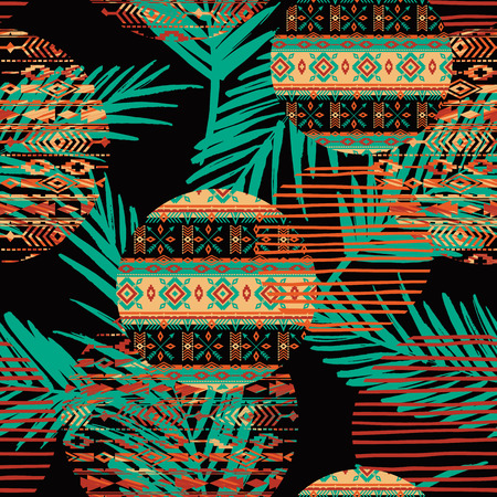 coverlet: Tribal ethnic seamless pattern with geometric elements and palm leaves. Vector background Illustration