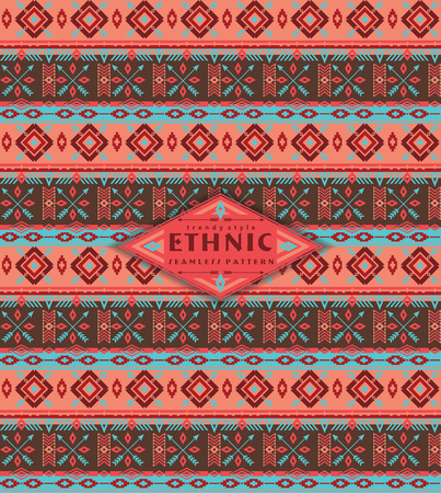 african americans: Tribal ethnic seamless pattern with geometric elements. Vector background