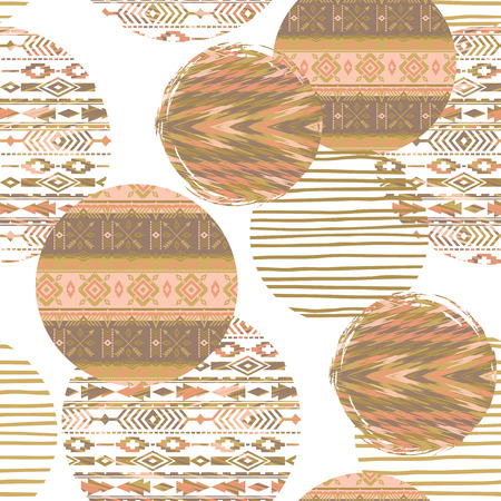 Tribal ethnic seamless pattern with geometric elements. Vector background