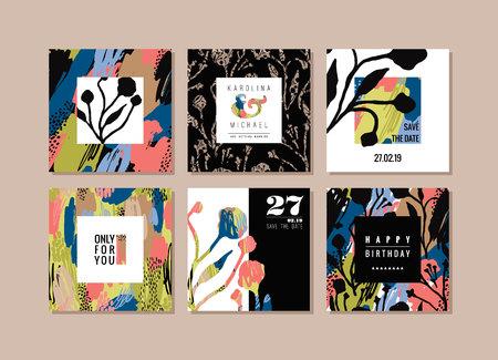 arte abstracto: Conjunto de tarjetas abstractas creativas. Dibujado a mano la textura de arte y elementos florales. plantillas abstractos modernos y elegantes para el cartel, portada, diseño de la invitación. Vectores