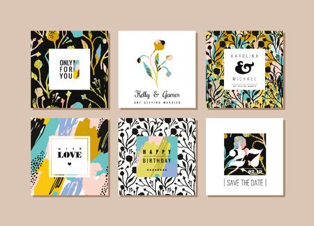 Jeu de cartes créatives abstraites. Hand drawn art texture et éléments floraux. modèles abstraits modernes et élégantes pour poster, couverture, conception d'invitation. Banque d'images - 69572440