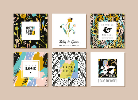 Set of abstract creative cards. Hand drawn art texture and floral elements. Modern and stylish abstract templates for poster, cover, invitation design.