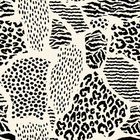 feline: Abstract seamless pattern with animal print. Trendy hand drawn textures. Vector modern design for paper, cover, fabric, interior decor and other users Illustration