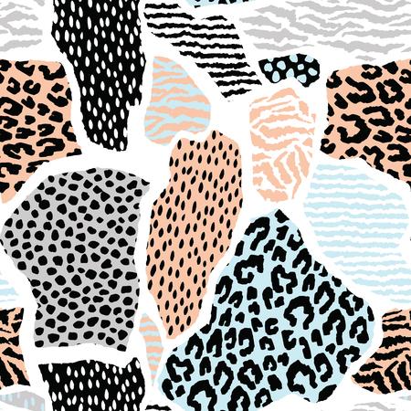 patrón abstracto sin fisuras con animal print. texturas dibujadas a mano de moda. Vector de diseño moderno para el papel, cubierta, tela, decoración de interiores y otros usuarios