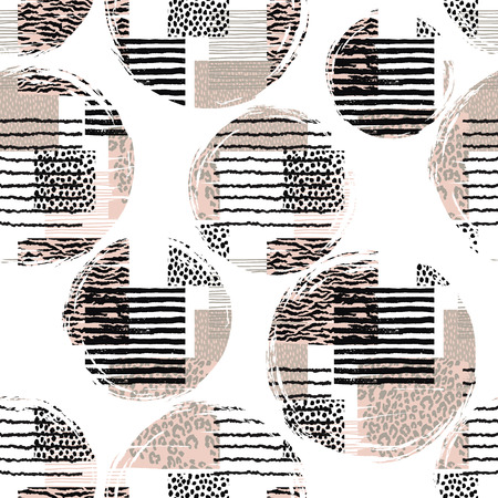 animal print: patrón abstracto sin fisuras con animal print. texturas dibujadas a mano de moda. Vector de diseño moderno para el papel, cubierta, tela, decoración de interiores y otros usuarios