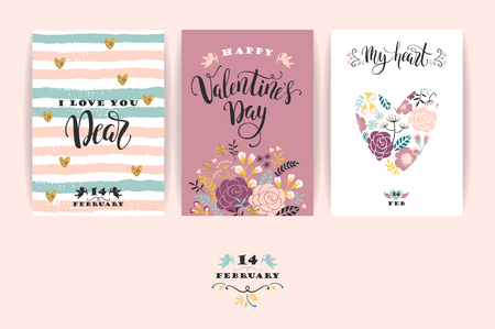 Set of Happy Valentines Day cards.