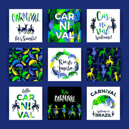 Brazil Carnival. Bright festive templates for carnival concept in trending abstract style. Vector illustration.