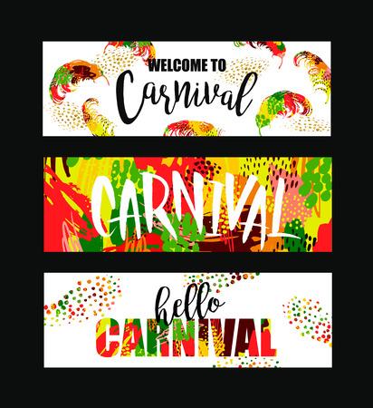 Carnaval. banderolas festivas brillantes de tendencias de estilo abstracto. ilustración vectorial Ilustración de vector