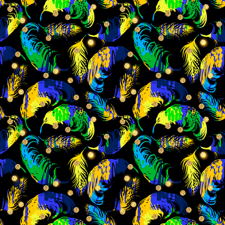 canvas: Vector seamless pattern with abstract feathers. Trendy hand drawn textures. Background for carnival concept and other users.