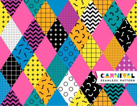 Carnival seamless pattern in Memphis style. Ilustração