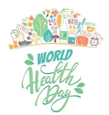 Illustration mondiale vecteur jour de la santé. Banque d'images - 74323582