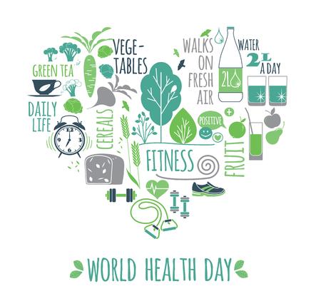 Illustration mondiale vecteur jour de la santé. Banque d'images - 74323584