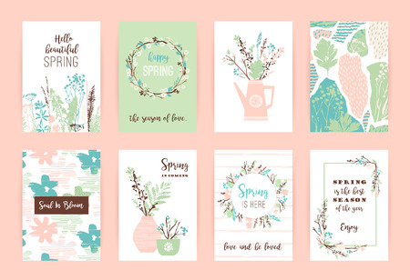 Set of artistic creative spring cards. 向量圖像