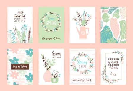 Set of artistic creative spring cards. Illustration