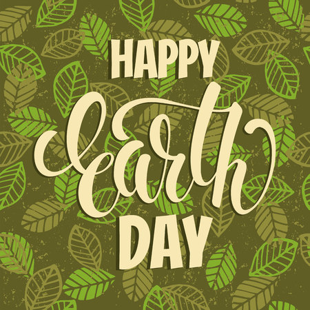 globe logo: Earth Day concept with hand draw lettering botanical green Vector illustration.