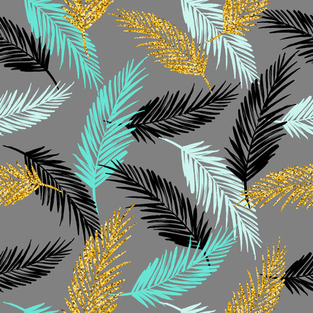 fabric patterns: Gold and blue exotic pattern with palm leaf silhouettes. Gold glitter texture. Vector design. Illustration