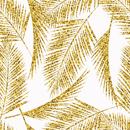 gold leaf: A Seamless exotic pattern with palm leaf silhouettes. Gold glitter texture Vector design.