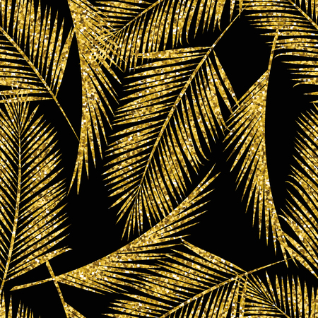 A Seamless exotic pattern with palm leaf silhouettes. Gold glitter texture on black Vector design. Ilustração