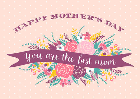 happy mom: Happy Mothers Day lettering greeting card with Flowers.