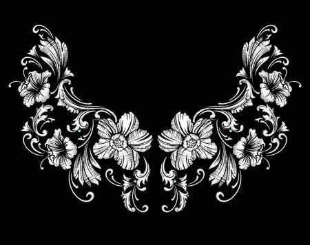 Floral neck embroidery design in Baroque Style.