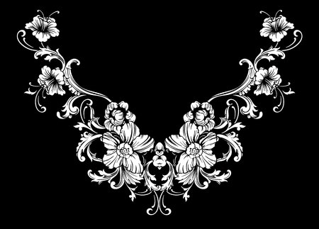 Conception de broderies au coude en style baroque.