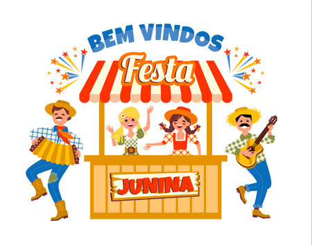 Latin American holiday, the June party of Brazil. Vector illustration Illustration