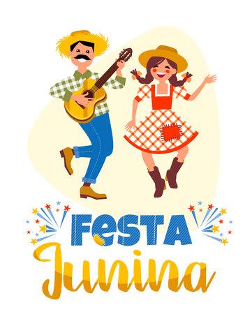 Latijns-Amerikaanse vakantie, het feest van juni in Brazilië. Vector illustratie