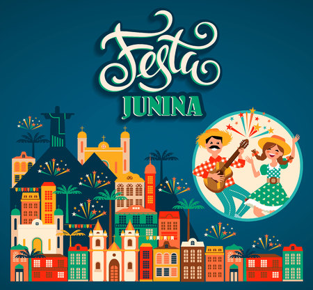 Latin American holiday, the June party of Brazil. Vector illustration 스톡 콘텐츠