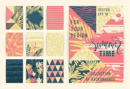 Conjunto de plantillas de fondo de verano. Diseñe los elementos para el cartel, el folleto, la tarjeta, la cubierta, el aviador, la tela y otros usuarios. Foto de archivo - 78270475