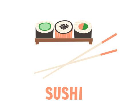 storefronts: Sushi. Japanese food sushi roll vector illustration.