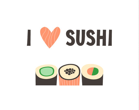 Sushi. Japanese food sushi roll vector illustration.