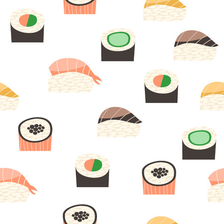 storefronts: Seamless pattern with different types of sushi. Illustration