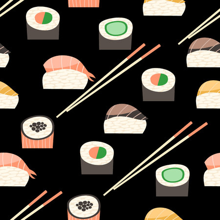 Seamless pattern with different types of sushi. Illustration