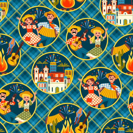star background: Latin American holiday, the June party of Brazil. Seamless pattern. Illustration