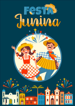 Latin American holiday, the June party of Brazil. Vector illustration. Illustration