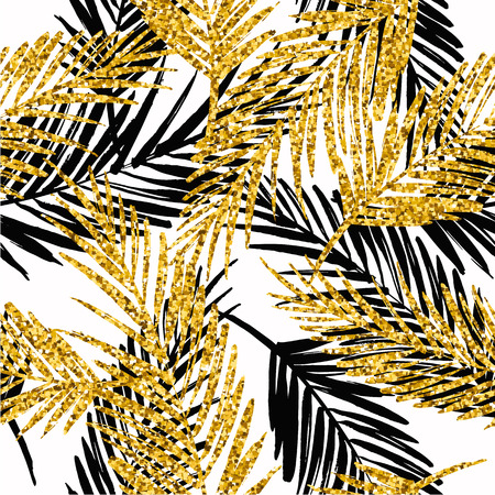 Seamless exotic pattern with tropical plants. Illustration