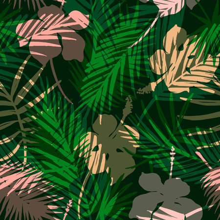 madagascar: Seamless exotic pattern with tropical plants. Illustration