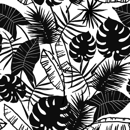 madagascar: A Seamless exotic pattern with tropical plants. Vector hand draw background. Illustration