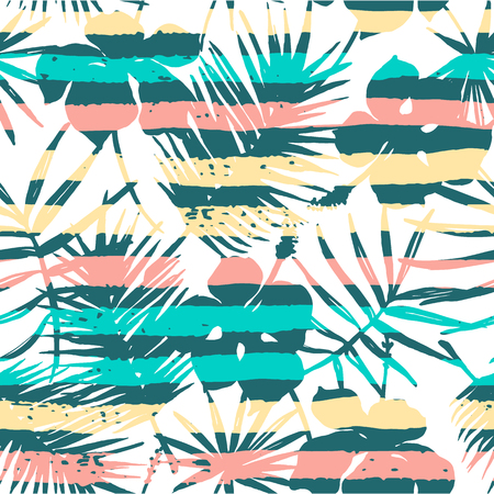 madagascar: Seamless exotic pattern with tropical plants. Vector hand draw background.